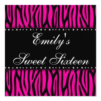 Hot Pink Zebra Diamonds Sweet 16 Birthday 13 Cm X 13 Cm Square Invitation Card