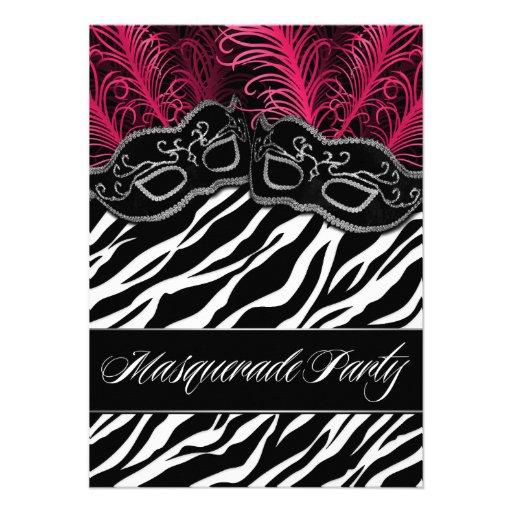 Hot Pink Zebra Masquerade Ball Party Invitations