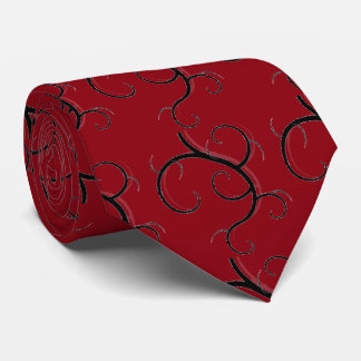 Hot Red Tie with black designs
