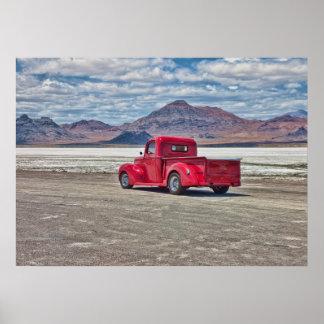 Hot rod pickup truck at the Bonneville Salt Flats Poster