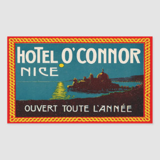 Hotel O'Connor (Nice France) Rectangular Sticker