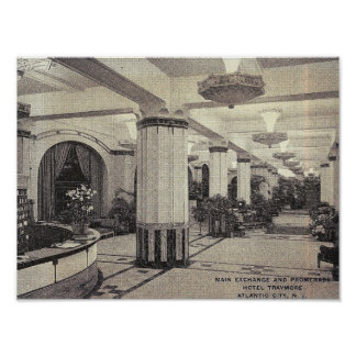 Hotel Traymore Lobby, Atlantic City, NJ Vintage Poster