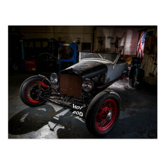 Hotrod in a Garage Postcard