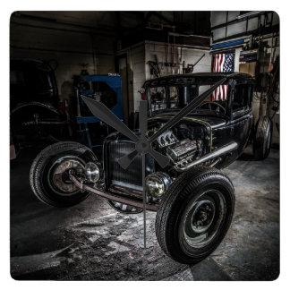 Hotrod in a Garage Wall Clock