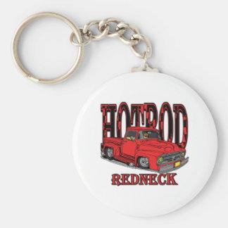 Hotrod Redneck Basic Round Button Key Ring