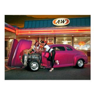 Hotrod Retro Neon Diner Car Hop Pin Up Girls Postcard