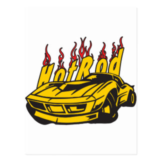 Hotrod Vette Flames Postcard