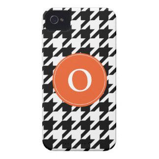 Houndstooth Black & White Orange iPhone 4/4s iPhone 4 Cases