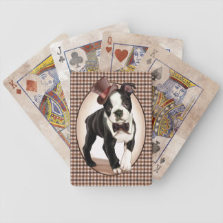 Houndstooth Boston Terrier Bicycle Playing Cards