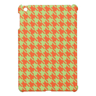 Houndstooth Check Pattern in Green and Orange iPad Mini Covers