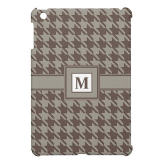 Houndstooth Checks Pattern in Grey Browns Case For The iPad Mini