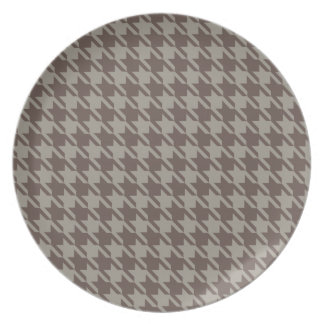 Houndstooth Checks Pattern in Grey Browns Plate
