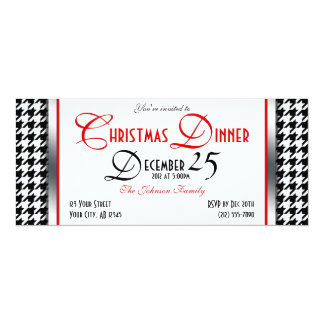 Houndstooth Christmas Dinner Invitations