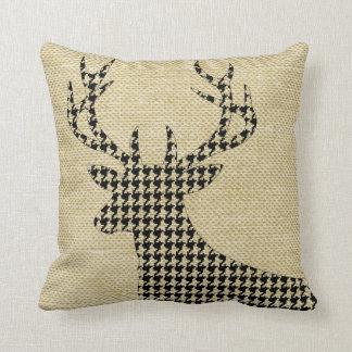 Houndstooth Deer Silhouette on Burlap   wheat Cushion