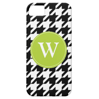 Houndstooth Pattern Black & White Lime, iPhone 5 iPhone 5 Case