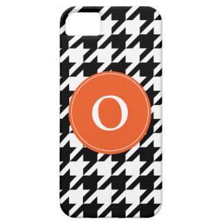 Houndstooth Pattern Black & White Orange, iPhone 5 iPhone 5 Covers