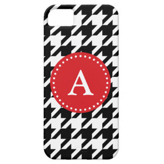 Houndstooth Pattern Black & White Red, iPhone 5 iPhone 5 Cases