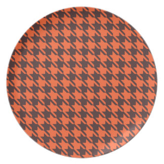 Houndstooth Pattern in Brown and Orange Dinner Plate
