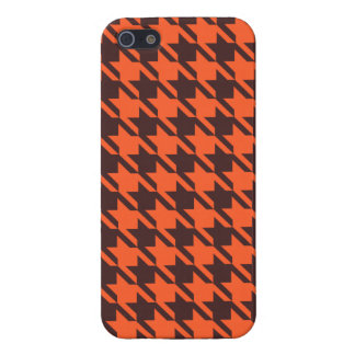 Houndstooth Pattern in Brown and Orange iPhone 5/5S Cover