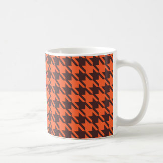 Houndstooth Pattern in Brown and Orange Basic White Mug