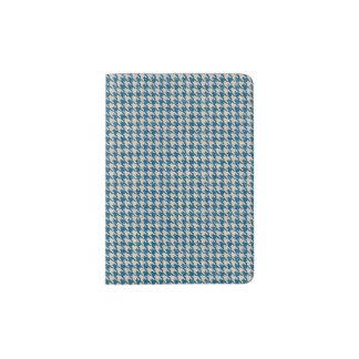 Houndstooth Teal Blue Pattern Passport Holder