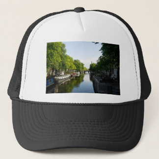 House Boats on Amsterdam Canal Trucker Hat