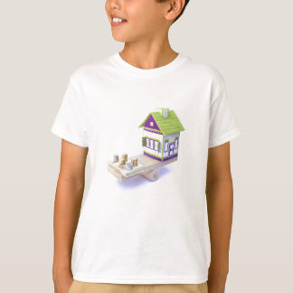 House in balance with pile of euro coins and notes T-Shirt