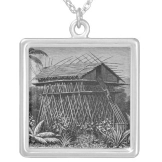 House in the Arfak village of Memiwa, New Guinea Silver Plated Necklace