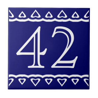 House Number - Hearts White on Blue Small Square Tile