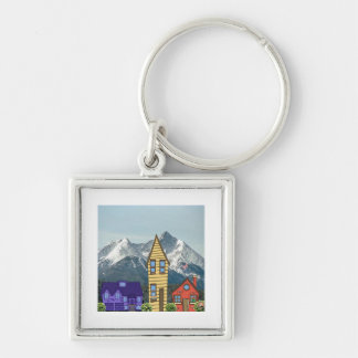 housemtn Silver-Colored square key ring