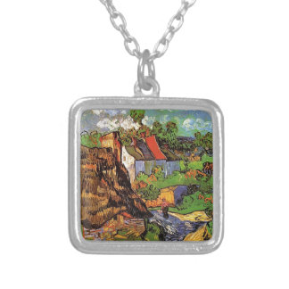 Houses in Auvers, Vincent van Gogh. Village Silver Plated Necklace