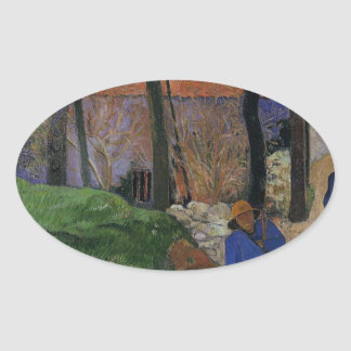 Houses in le Pouldu by Paul Gauguin Oval Sticker