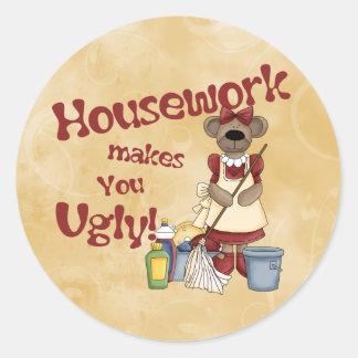 Housework Round Sticker