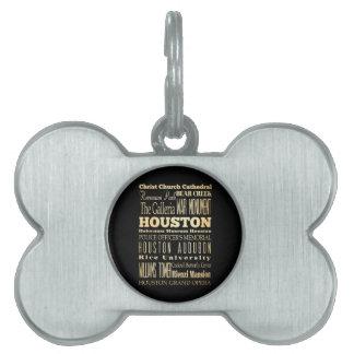 Houston City of Texas State Typography Art Pet Name Tag