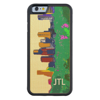Houston Downtown Skyline Montrose Handmade Custom Carved Maple iPhone 6 Bumper Case