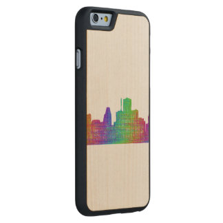 Houston skyline carved maple iPhone 6 case