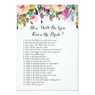 How Well Do You Know The Bride Card. Floral Card