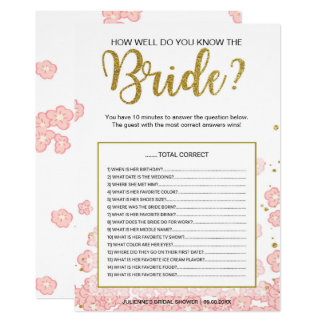 How Well Do You Know the Bride Game | Pink Gold Card