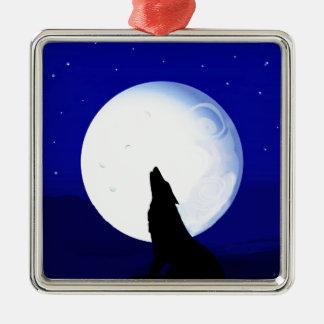 Howlin Coyote - Tucson Arizona Silver-Colored Square Decoration