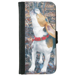 Howling Beagle Puppy in Woods iPhone 6 Wallet Case