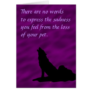 Howling Wolf Silhouette Sympathy for Loss of Pet Card