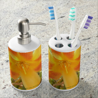 Hudson Floral Collection: Yellow Soap /Tooth set Toothbrush Holder