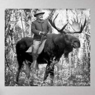 Huge Teddy Roosevelt Riding A Bull Moose Poster