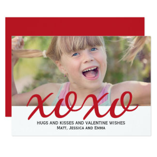 Hugs and Kisses Family Valentine Photo Card