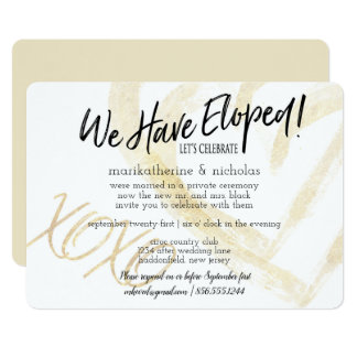 Hugs, Kisses and Hearts Elopement Party Card