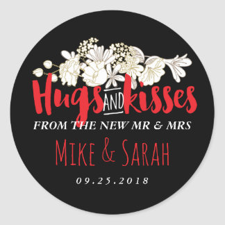 Hugs Kisses Mr and Mrs Flower Wedding Sticker