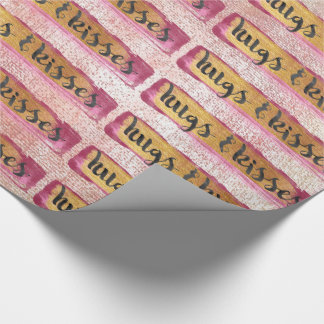 Hugs & Kisses XOXO Gold Pink Black Glam Packaging Wrapping Paper