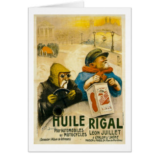 Huile Rigal - Vintage French Auto Ad Greeting Card