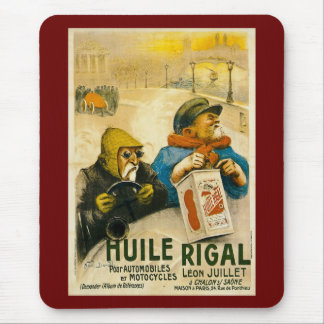 Huile Rigal - Vintage French Auto Ad Mouse Pad