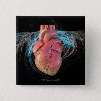 Human heart, computer artwork. 15 cm square badge